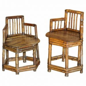 PAIR OF STUNNING CIRCA 1800 CHINESE BAMBOO PRIMITIVE OCCASIONAL CHAIRS HIS & HER