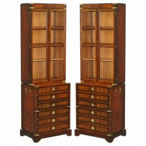 PAIR OF HARRODS KENNEDY MILITARY CAMPAIGN MAHOGANY BOOKCASES + CHEST OF DRAWERS