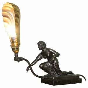 STUNNING ART DECO MARBLE & BRONZE STATUE ARTICULATED SHADE TABLE LAMP WALL LIGHT